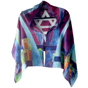 Jewish Prayer Shawl - Purple Silk Jerusalem Front